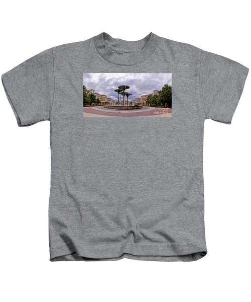Panorama Of Texas Christian University Campus Commons And Frog Fountain - Fort Worth Texas Kids T-Shirt