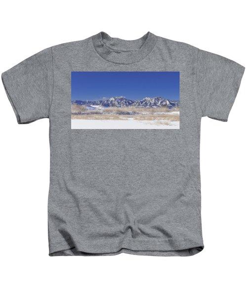 Panorama Radiation Fog Flatirons Kids T-Shirt