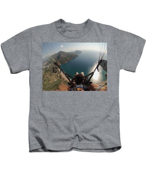 Paragliding Fly Above Laguna Seascape Kids T-Shirt