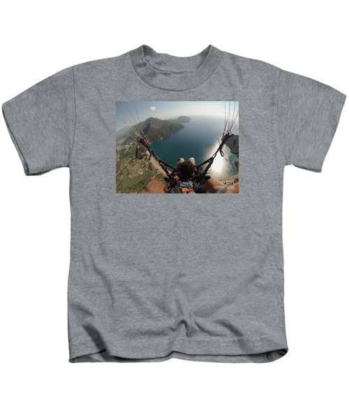 Paragliding Fly Above Laguna Seascape Kids T-Shirt