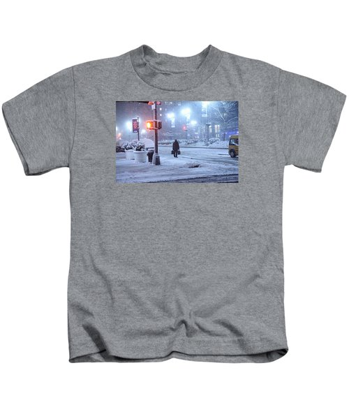 Park Avenue At E45th Near Grand Central In The Winter Storm Late Night New York On Feb 08 2013 Kids T-Shirt