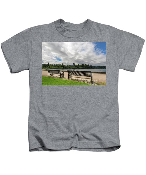 Park Bench Along Capitol Lake In Olympia Washington Kids T-Shirt