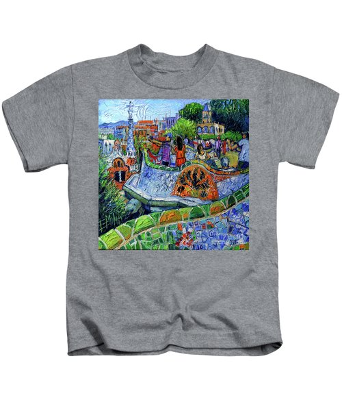 Park Guell Memories - Barcelona Impression Palette Knife Oil Painting Kids T-Shirt