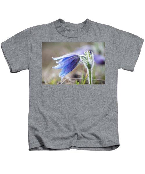 Pasque Flower's Silver Grey Hair Kids T-Shirt