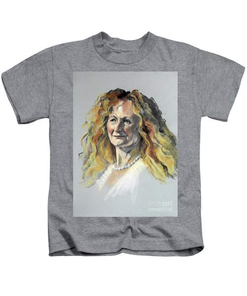 Pastel Portrait Of Woman With Frizzy Hair Kids T-Shirt
