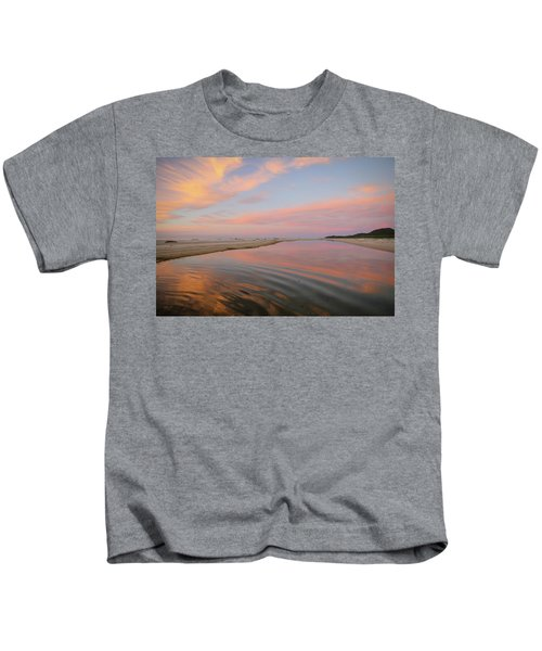 Pastel Skies And Beach Lagoon Reflections Kids T-Shirt