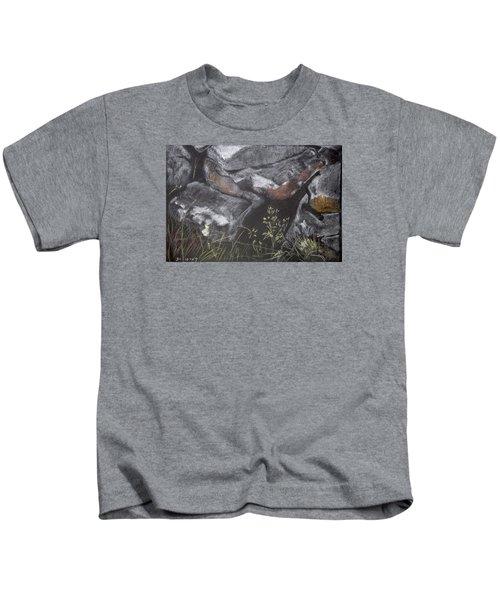 Pastel Stones And Plants On Black Kids T-Shirt