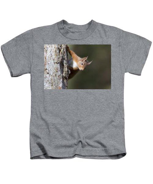 Peekaboo - Red Squirrel #29 Kids T-Shirt