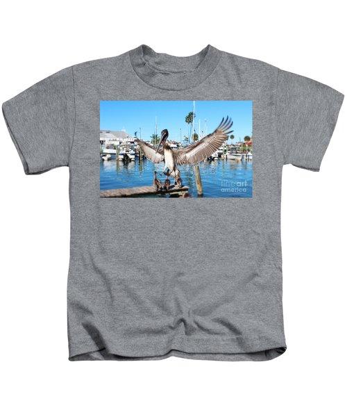 Pelican Flying In Kids T-Shirt