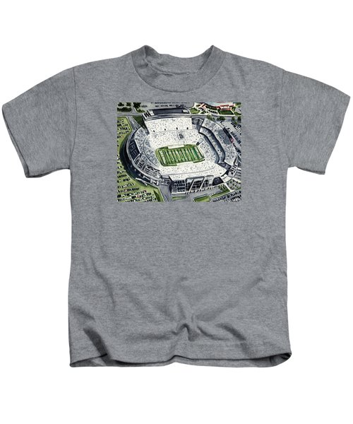 Penn State Beaver Stadium Whiteout Game University Psu Nittany Lions Joe Paterno Kids T-Shirt by Laura Row