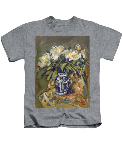 Peonies In Delft Blue Vase On Quilt Kids T-Shirt