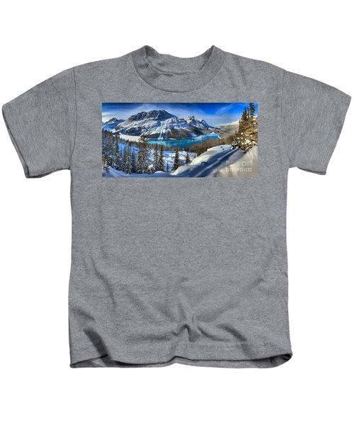 Peyto Lake Winter Panorama Kids T-Shirt