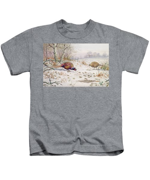 Pheasant And Partridge Eating  Kids T-Shirt by Carl Donner