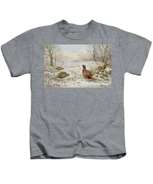 Pheasant And Partridges In A Snowy Landscape Kids T-Shirt by Carl Donner