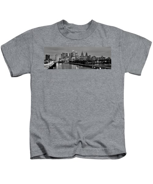 Philadelphia Philly Skyline At Dusk From Near South Bw Black And White Panorama Kids T-Shirt by Jon Holiday