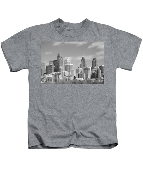 Philly Skyscrapers Black And White Kids T-Shirt