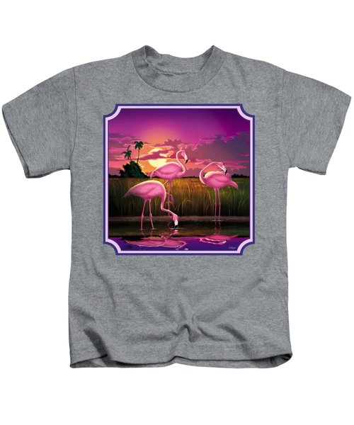 Pink Flamingos At Sunset Tropical Landscape - Square Format Kids T-Shirt