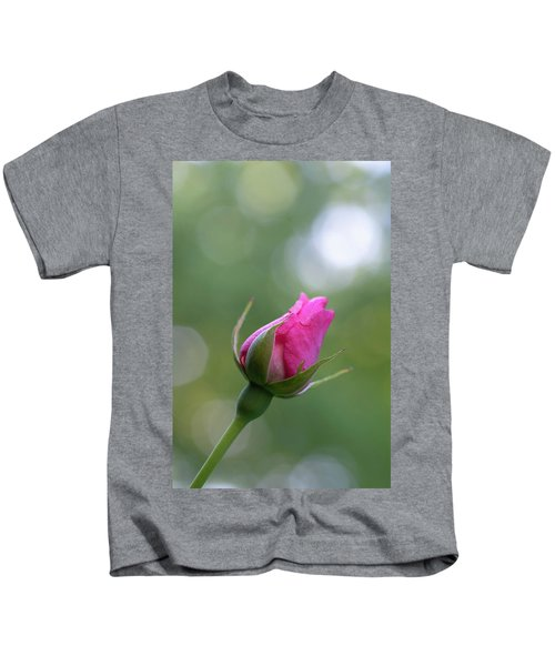 Pink Rose Bud Kids T-Shirt