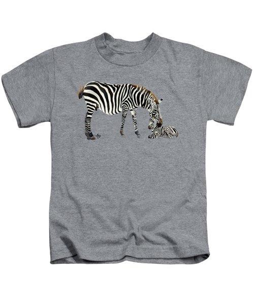 Plains Zebras Kids T-Shirt by Angeles M Pomata