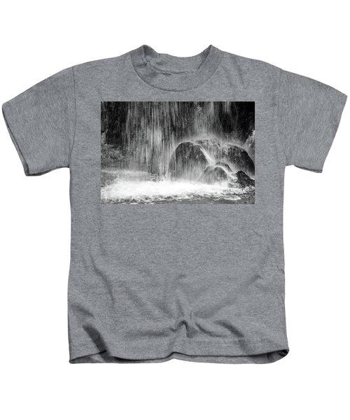 Plitvice Waterfall Black And White Closeup - Plitivice Lakes National Park, Croatia Kids T-Shirt