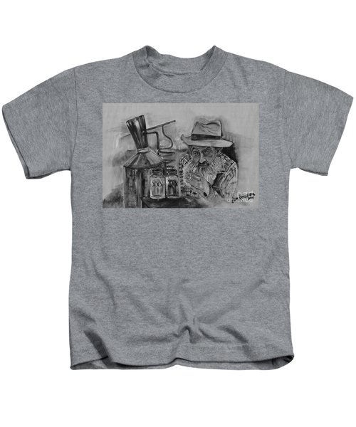 Popcorn Sutton - Black And White - Waiting On Shine Kids T-Shirt