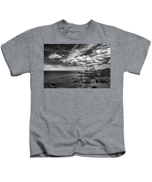 Portland Head Light In Black And White Kids T-Shirt
