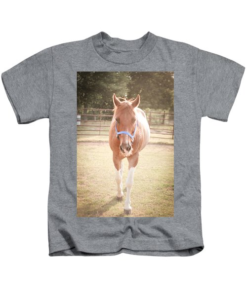 Portrait Of A Light Brown Horse In A Pasture Kids T-Shirt