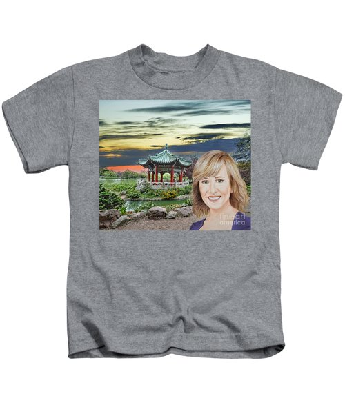 Portrait Of Jamie Colby By The Pagoda In Golden Gate Park Kids T-Shirt by Jim Fitzpatrick