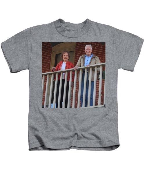 President And Mrs Carter On Plains Inn Balcony Kids T-Shirt