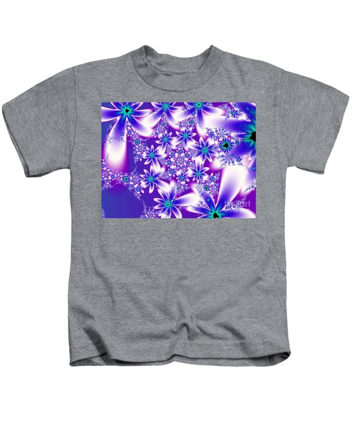 Purple And Blue Fractal Flowers Kids T-Shirt