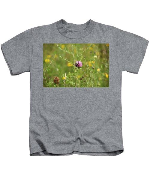 Purple Flower And Bee Kids T-Shirt