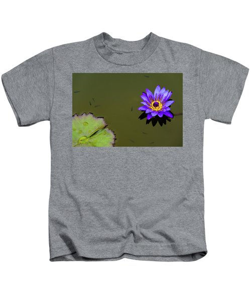 Purple Lily With Tiny Fish Kids T-Shirt