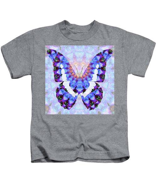 Purple Mandala Butterfly Art By Sharon Cummings Kids T-Shirt
