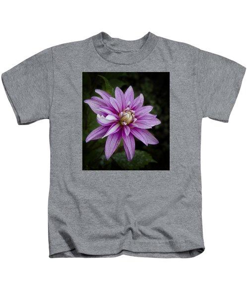 Purple Pink Dahlia Kids T-Shirt