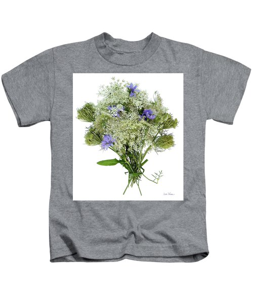 Queen Anne's Lace With Purple Flowers Kids T-Shirt