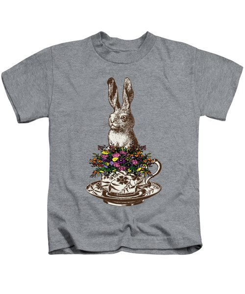 Rabbit In A Teacup Kids T-Shirt by Eclectic at HeART