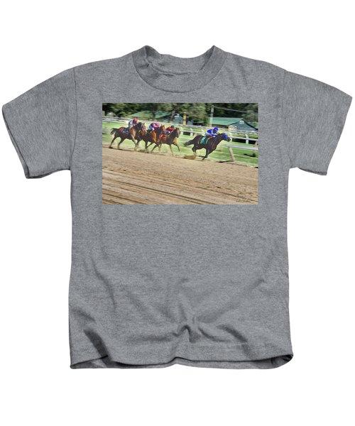 Race Horses In Motion Kids T-Shirt