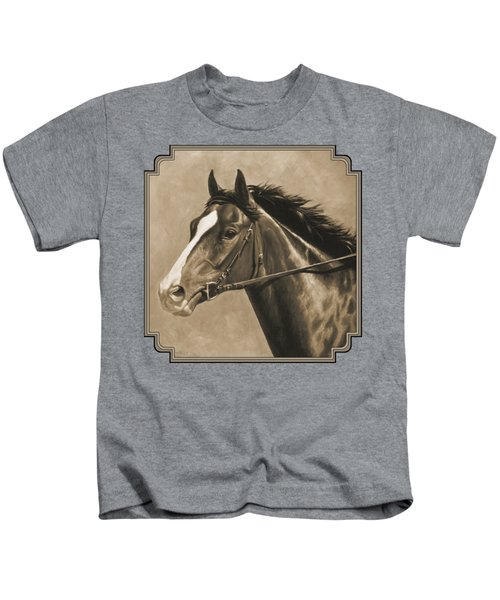 Racehorse Painting In Sepia Kids T-Shirt by Crista Forest