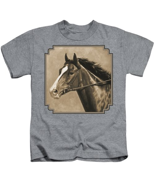 Racehorse Painting In Sepia Kids T-Shirt