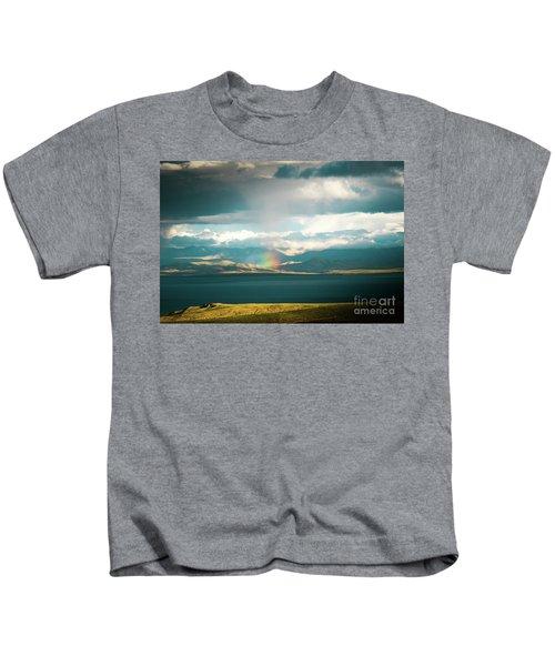 Rainbow Above Lake Manasarovar Kailash Yantra.lv Kids T-Shirt