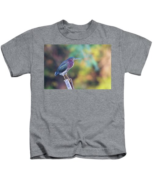 Rainbow Heron Kids T-Shirt