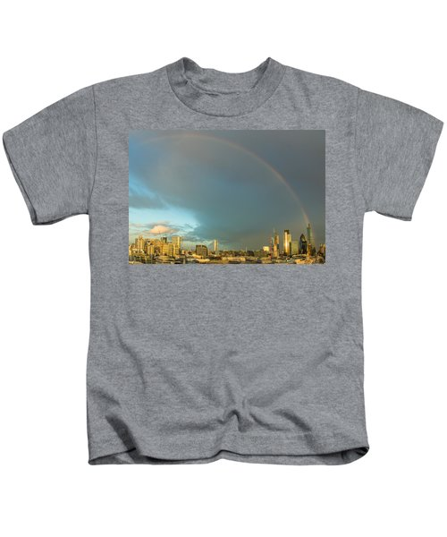 Rainbow Over The City Of London Kids T-Shirt