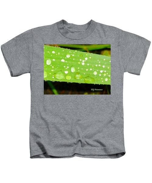 Raindrops On Leaf Kids T-Shirt