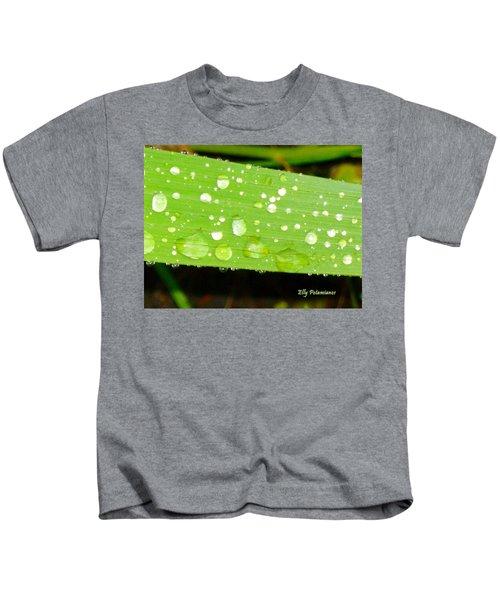 Raindrops On Leaf Kids T-Shirt