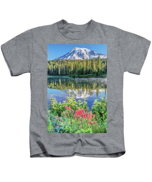 Rainier Wildflowers At Reflection Lake Kids T-Shirt