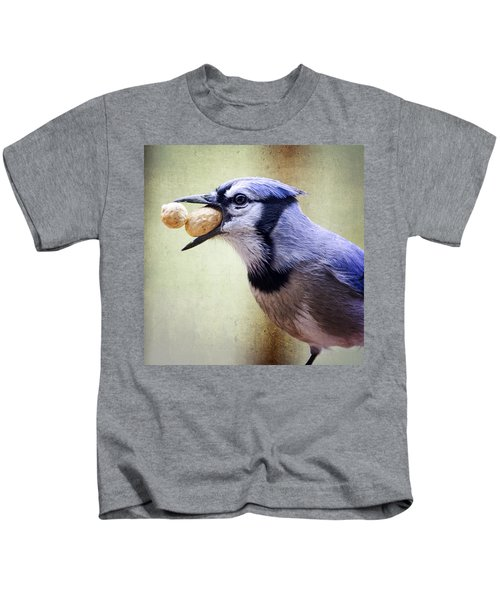 Rainy Day Blue Jay Kids T-Shirt