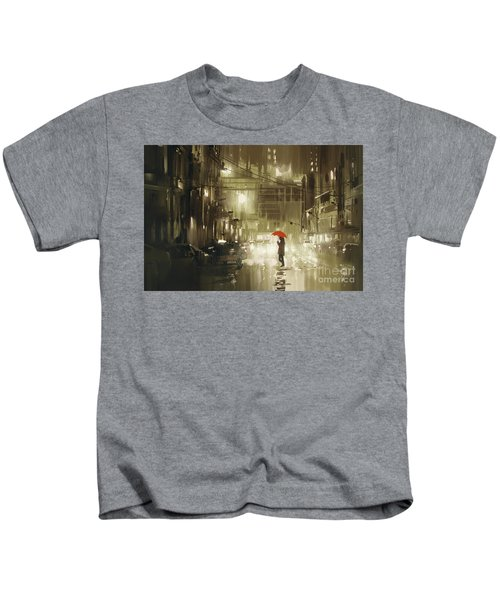 Kids T-Shirt featuring the painting Rainy Night by Tithi Luadthong
