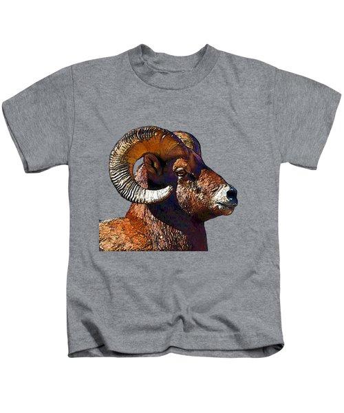 Ram Portrait - Rocky Mountain Bighorn Sheep  Kids T-Shirt by Lena  Owens OLena Art