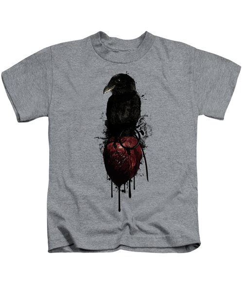 Raven And Heart Grenade Kids T-Shirt by Nicklas Gustafsson