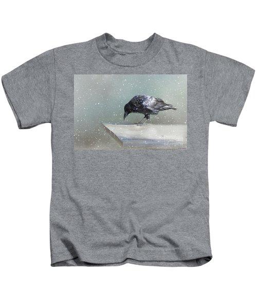 Raven In Winter Kids T-Shirt